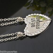 LP:Damen Silber Halskette Charm Herz Anhänger Strass BEST FRIENDS Modeschmuck