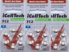 60 x Hörgerätebatterien IcellTech Typ 312 DS  PR41  Hörgeräte-Batterien bis 2021