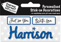 Harrison Blue Name Sticker DIY Greeting Card Toppers Personalise Cards Gifts