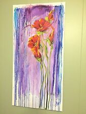 Original Acrylic Painting Flowers Red Poppies Modern Impressionist Signed Togel
