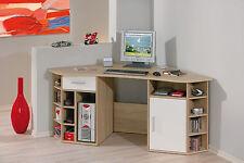 Bureau d´angle meuble informatique nombreux rangement grande surface décor CHÊNE