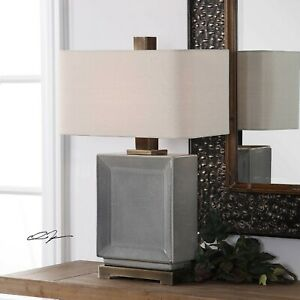 """ABBOT XXL 28"""" CRACKLED CERAMIC AGED BRONZE METAL TABLE ACCENT LAMP UTTERMOST"""