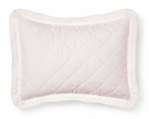 Simply Shabby Chic Pink Crochet Trim Linen Blend Standard Pillow Sham NWD