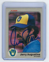 1983 BREWERS Jerry Augustine signed card Fleer #26 AUTO Autographed Milwaukee