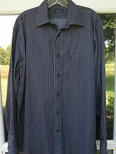 Canali Men's Long Sleeve Cotton Black Striped Italian Casual Shirt Medium EUC