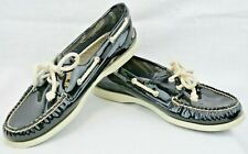 Sperry Topsiders  Womens 9.5 M 2 Eye Boaty Shoes Black Patent Leather R76