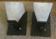 Pair of RV 12 Volt Impressive Black Wall Sconce Light Lamp Alabaster Glass Shade