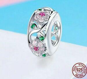 💖 Flower Bee Garden CZ Genuine 925 Sterling Silver Charm Bead Bracelet 💖