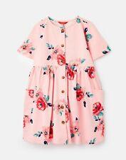 Joules Girls Liddie Button Through Smock Dress  - Pink Floral - 1Yr