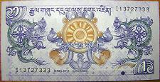 Bhutan 1 Ngultrum 2013 Banknote Bhutanese Rare Scarce Paper Money New UNC