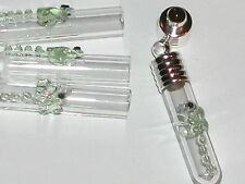 1 Small Dragonfly Glass bottle vial charm pendant GREEN