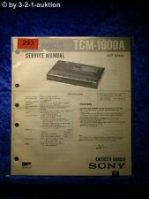 Sony Service Manual TCM 1000A Cassette Corder  (#0293)