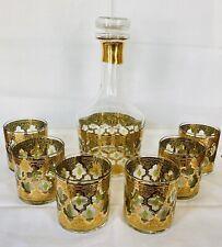 New listing Beautiful Culver Valencia Liquor Decanter w/ Stopper & 6 Rocks Glasses 22k Gold