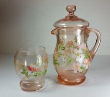 Hermosa Vintage Con Tapa De Cristal Rosa Jarra De Agua & Vaso-Pintado A Mano Con Flores