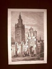 Incisione di Gustave Dorè del 1874 La Giralda di Siviglia Spagna