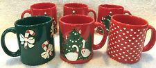 6 Pc Waechtersbach Christmas Mug Set Tree Goose Candy Cane Hearts - West Germany