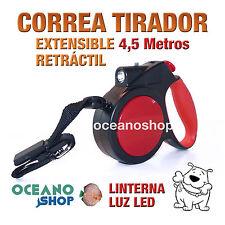 CORREA 4,5m EXTENSIBLE LINTERNA LED PERROS HASTA 40KG RETRÁCTIL PASEO L53N 2481