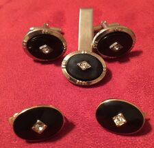 His & Hers Formal Grouping Cufflinks, Tie Clip, Clip On Trifari Earrings