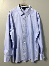 Tommy Hilfiger Mens 18 34-35 White Blue Stripe Long Sleeve Button Down Shirt