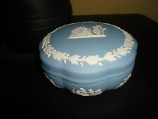 Gorgeous Blue Wedgwood Jasperware Trinket Pot  - Pretty Accessory - Good Size