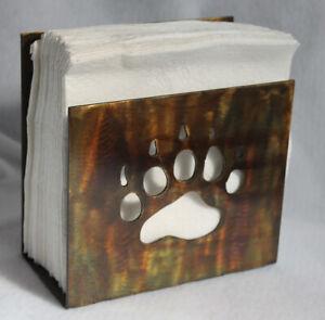 Napkin Holder Bear Paw Print Plasma Cut Metal Art Wildlife Rustic Cabin Decor