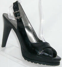 Jessica Simpson 'Lotus' black patent leather slingback platform heel 8B 4984