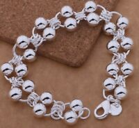 """925 Sterling Silver Link Chain Beaded Small Baby Child 5"""" Bracelet D295"""