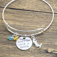 ARIEL THE LITTLE MERMAID DON'T BE SUCH A GUPPY BANGLE CHARMS SILVER BRACELET