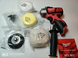 "Milwaukee 2438-20 M12 3"" Variable Speed Polisher Sander Bare Tool W/ Accessories"