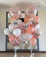 Blush Confetti Balloon Bouquet Birthday Wedding Bride Baby Engaged Silver Peach