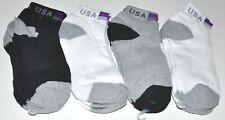 USA Flag Low Cut Ankle Socks Black/White/Gray 3 Pair Men's Size 10-13 New