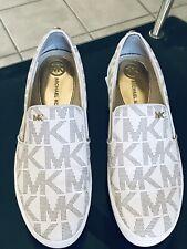 Women's Michael Kors Keaton MK Logo Slip-On Sneakers Size 6 White