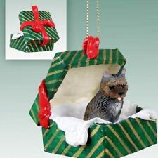 Cairn Terrier Brindle Dog Green Gift Box Holiday Christmas Ornament