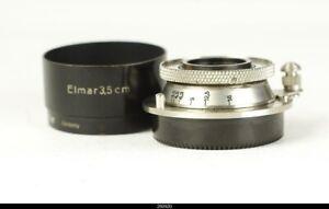 * Lens Leica Elmar Nickel  3,5/3,5cm 35mm With Shade Hood Bla For Leica Screw 39