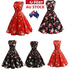 AU Womens 50s Christmas Floral Swing Dress Sleeveless Short Mini  Vintage Dress