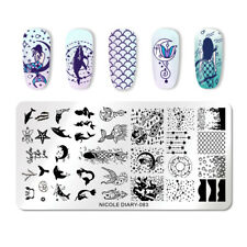 NICOLE DIARY Nail Art Stamp Plates Rectangle Ocean World Nail Stamp Stencil 083