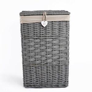 Wickerfield Grey Square Wicker Laundry Basket With Lid Storage Clothing Basket