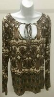CATO Women's Multi-Color Paisley Scoop Neck Long Sleeve Top Blouse Tunic Size: L