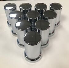 33mm Flat Top Cylinder w skirt chrome lug nut cover Thread-on -  (pack of 10)