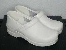Dansko Leather Slip On Closed Back Clog Shoes Professional White Sz 9.5 - 10/ 40
