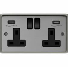 BLACK NICKEL DOUBLE SOCKET + 2 X USB CHARGING OUTLETS WITH BLACK TRIM