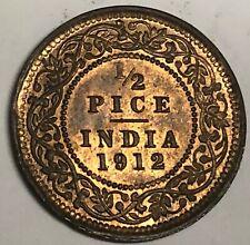 # C2159   INDIA  COIN,    1/2  PICE   1912   Au.
