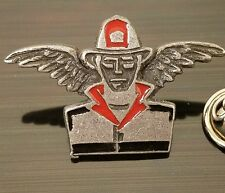 Pewter and Enamel Firefighter Guardian Angel Fire Fighter Tie Hat Lapel Pin