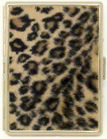 Faux Fur Leopard Print Compact (9 100s) Metal-Plated Cigarette Case & Stash Box