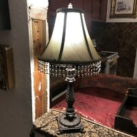 Victorian Style table Lamp Iridescent Beaded Fringe Shade Sparkle Blue Gold New