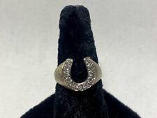 10kt White Gold Diamond Brushed Horse Shoe Ring *