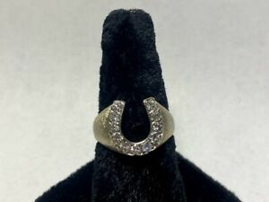 10kt White Gold Diamond Brushed Horse Shoe Ring *