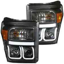 ANZO 111292 Set of 2 Black U-Bar Style Projector Headlights for Ford Super Duty