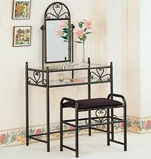 Black Heart Shape Vanity Table and Stool Set with Mirror by Coaster 2432