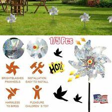 8 Leaves Bird Repeller Windmill Deterrent Silver Pinwheels for Outdoor Garden Us
